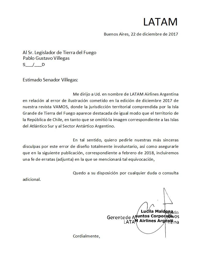 LATAM respondió positivamente al requerimiento de los legisladores Urquiza y Villegas